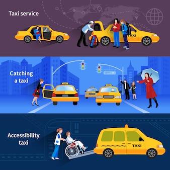 Banners con escenas de servicio de taxi que atrapan taxis y taxis de accesibilidad