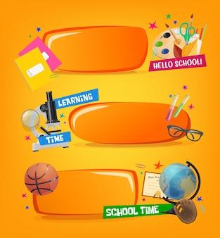 Banners escolares, marcos educativos con equipo de estudio de dibujos animados y papelería, pelota deportiva, guante y diploma. microscopio de herramientas de aprendizaje, frascos, vasos con cuaderno, tijeras y globo