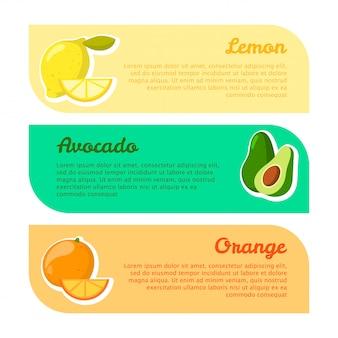 Banners con espacio para su texto. beneficios de las frutas. limón, aguacate y naranja