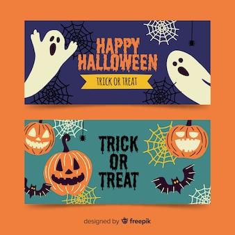 Banners espeluznantes de halloween dibujados a mano