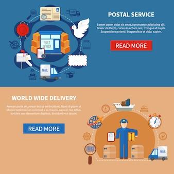 Banners de estilo plano de servicio postal