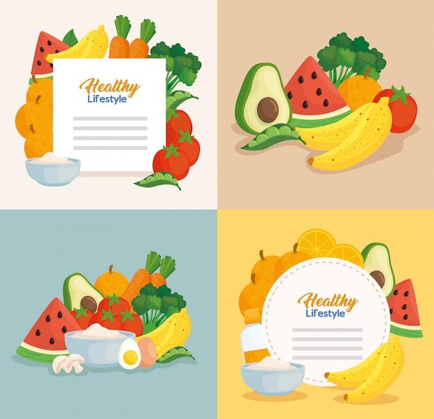 Banners de estilo de vida saludable, verduras y frutas, concepto de comida sana