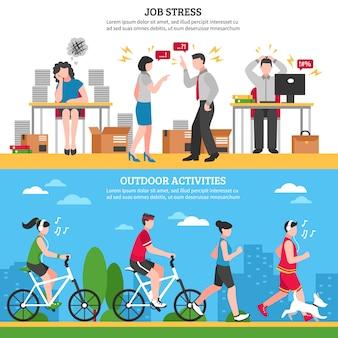 Banners de estrés y relajación