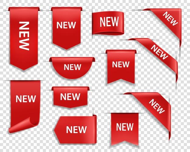 Banners de etiquetas, nuevas insignias de etiquetas e iconos para la página web