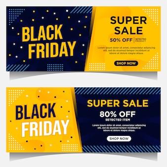 Banners de eventos de black friday y plantilla de fondo en color azul oscuro y amarillo con adornos de estilo degradado