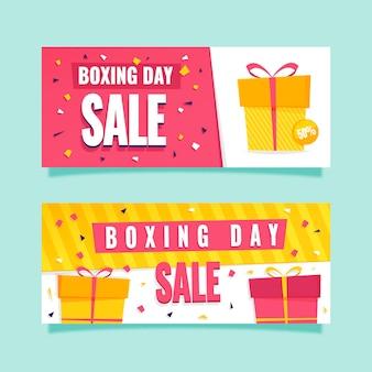 Banners de eventos del día del boxeo de diseño plano