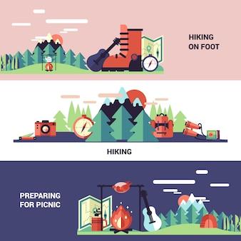 Banners de excursionismo y picnic