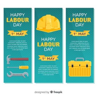 Banners de feliz día del trabajador