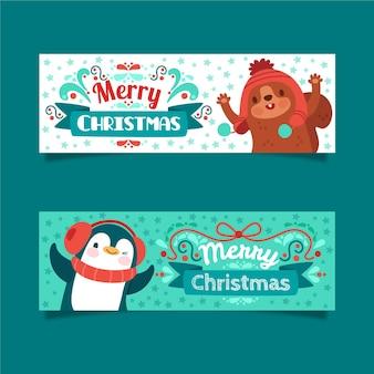 Banners de feliz navidad con animales lindos