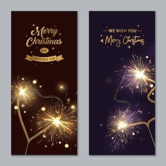 Banners de feliz navidad con bengalas en forma de corazón y abeto