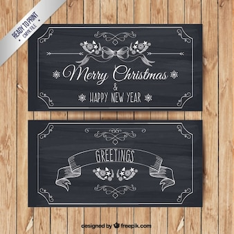 Banners de feliz navidad en estilo pizarra
