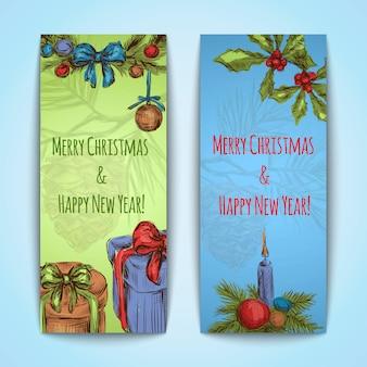 Banners de feliz navidad y feliz año nuevo verticales