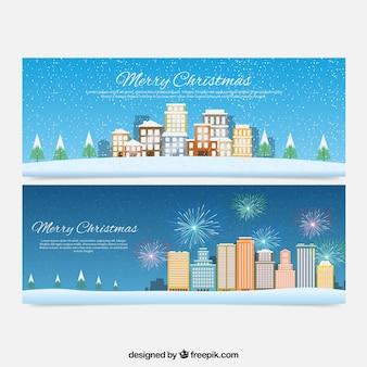 Banners de feliz navidad de paisaje de ciudades