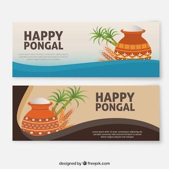 Banners de feliz pongal en diseño plano