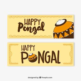 Banners de feliz pongal con fondo marrón