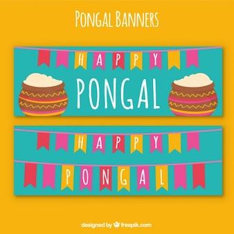 Banners de feliz pongal con guirnaldas coloridas