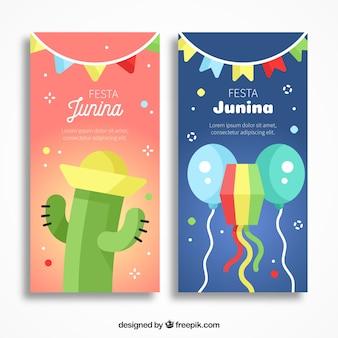 Banners de festa junina con cactus y cometa