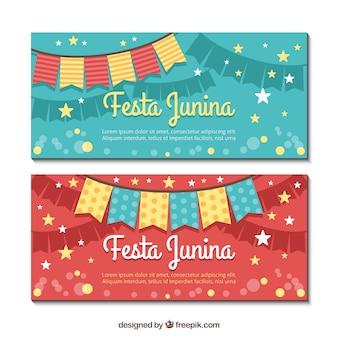 Banners de festa junina con estrellas