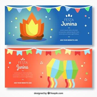 Banners de festa junina con hoguera y cometas