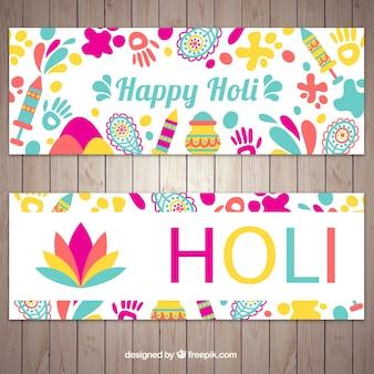 Banners del festival de holi con elementos decorativos