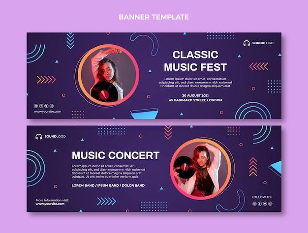 Banners de festival de música colorido degradado horizontales