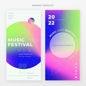 Banners de festival de música colorido degradado verticales