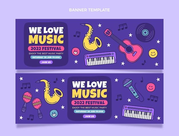 Banners de festival de música coloridos dibujados a mano horizontales