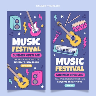 Banners de festival de música coloridos dibujados a mano verticales