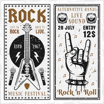 Banners del festival de música rock con guitarra y mano.