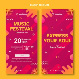 Banners de festival de música de semitono degradado verticales