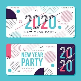 Banners de fiesta abstracta año nuevo 2020