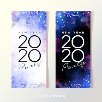 Banners de fiesta acuarela año nuevo 2020
