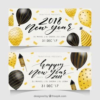 Banners de fiesta año nuevo 2018 en acuarela