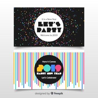 Banners de fiesta de año nuevo 2019