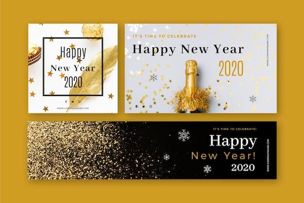 Banners de fiesta de año nuevo 2020 con conjunto de fotos