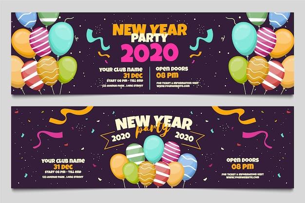 Banners de fiesta de año nuevo 2020 dibujados a mano