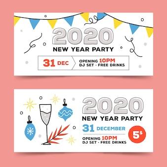 Banners de fiesta de año nuevo 2020 dibujados a mano vector gratuito