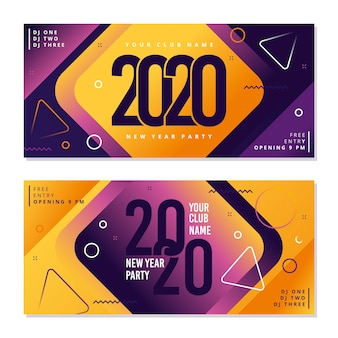 Banners de fiesta de año nuevo 2020 en diseño plano