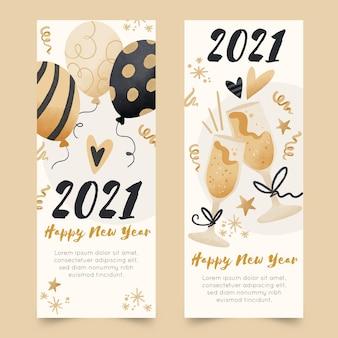 Banners de fiesta de año nuevo 2021 en acuarela
