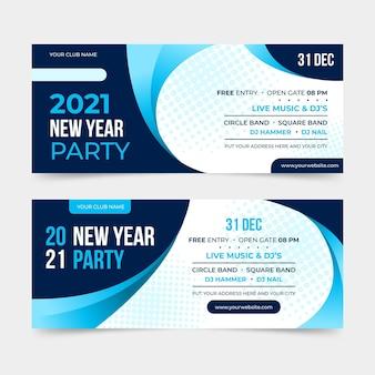 Banners de fiesta de año nuevo 2021 de diseño plano