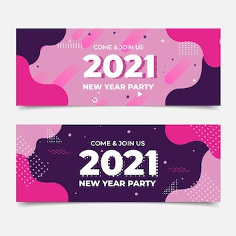 Banners de fiesta de año nuevo 2021 en diseño plano