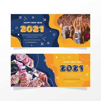 Banners de fiesta de año nuevo 2021 con foto