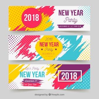 Banners de fiesta de año nuevo en colores brillantes