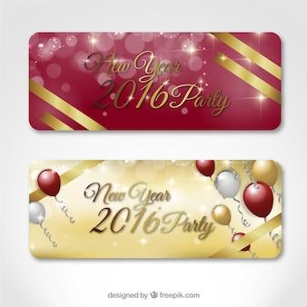 Banners de fiesta de año nuevo en colores rojo y dorado