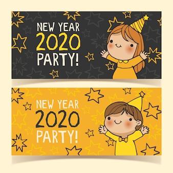 Banners de fiesta de año nuevo dibujados a mano