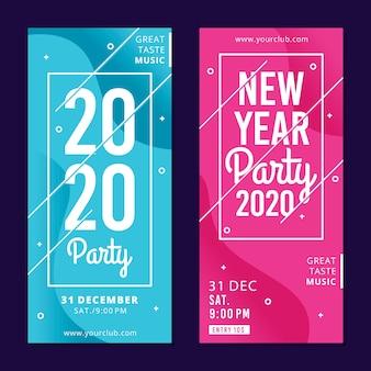 Banners de fiesta de año nuevo de diseño plano