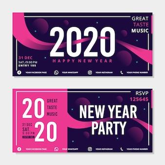 Banners de fiesta de año nuevo en diseño plano