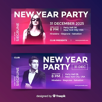 Banners de fiesta de año nuevo con foto