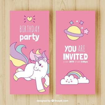 Banners de fiesta de cumpleaños dibujados a mano