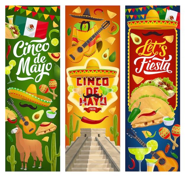 Banners de fiesta de fiesta mexicana del cinco de mayo